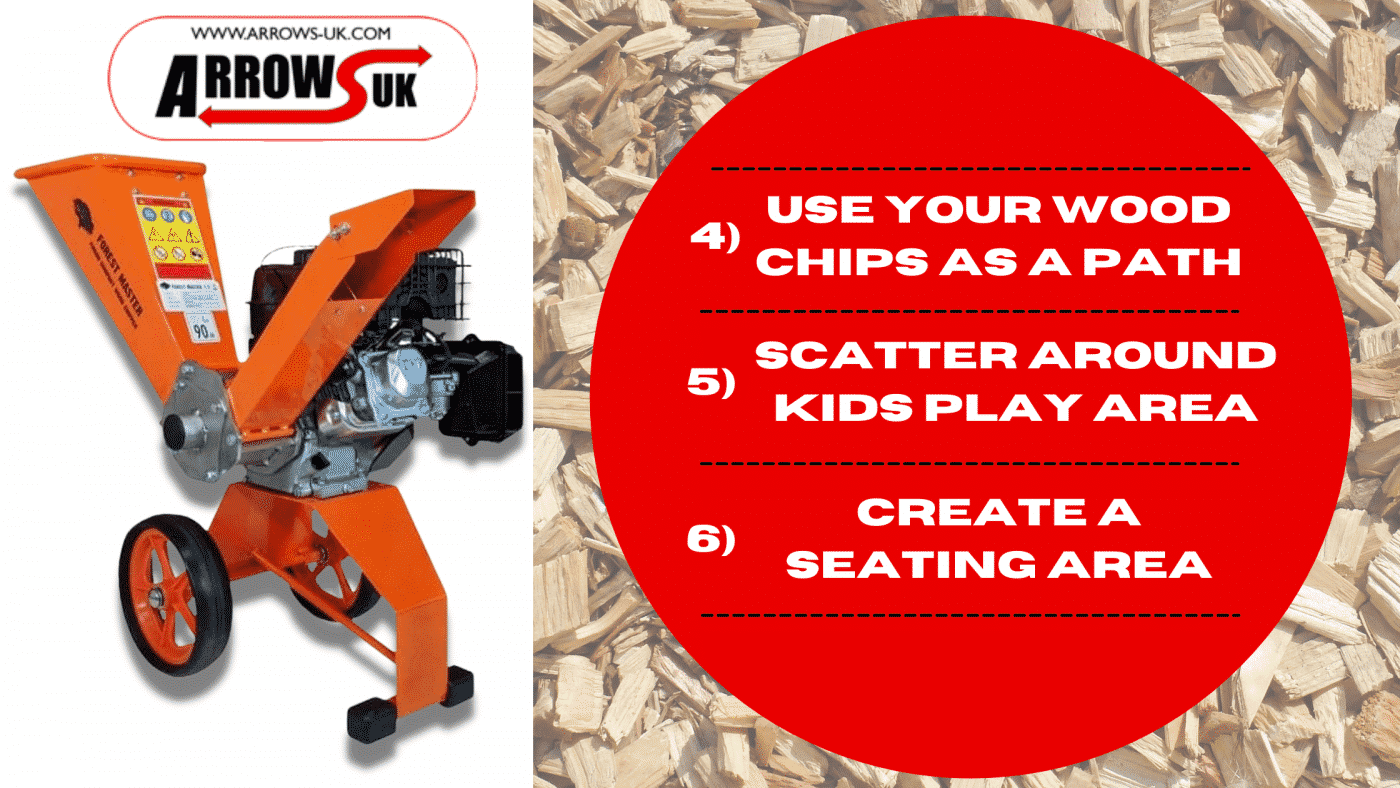 wood chips, wood chipper, forest master, arrows